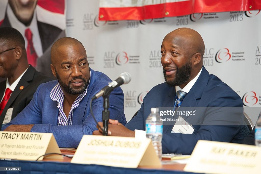 Actor <a gi-track='captionPersonalityLinkClicked' href=/galleries/search?phrase=Malik+Yoba&family=editorial&specificpeople=714316 ng-click='$event.stopPropagation()'>Malik Yoba</a> and <a gi-track='captionPersonalityLinkClicked' href=/galleries/search?phrase=Tracy+Martin+-+Father+of+Trayvon+Martin&family=editorial&specificpeople=9075765 ng-click='$event.stopPropagation()'>Tracy Martin</a> serve as panelist on one of the sessions entitled 'Saving Our Sons' on Day 3 of the 43rd Annual Legislative Conference on September 20, 2013 in Washington, DC.