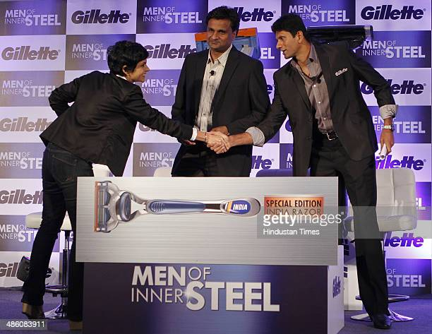 Actor Mandira Bedi with former cricketers Javagal Srinath and Venkatesh Prasad during the launch of special edition razors by Gillette on April 22...