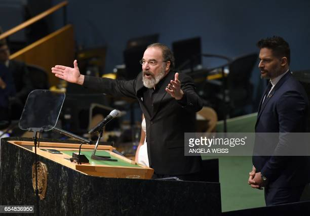 Actor Mandy Patinkin speaks on International Day of Happiness in conjunction with SMURFS THE LOST VILLAGE at the United Nations Headquarters on March...