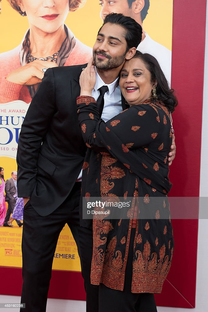 Actor <a gi-track='captionPersonalityLinkClicked' href=/galleries/search?phrase=Manish+Dayal&family=editorial&specificpeople=5593303 ng-click='$event.stopPropagation()'>Manish Dayal</a> (L) and mother Hema Patel attend 'The Hundred-Foot Journey' New York premiere at the Ziegfeld Theater on August 4, 2014 in New York City.