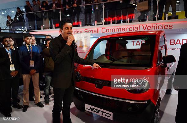 Actor Manoj Bajpayee celebrates Mahindra Jeeto winning the small commercial vehicle of the year award at Auto Expo 2016 on February 4 2016 in Greater...