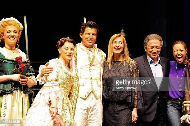 Actor Manon Taris Vincent Niclo Lara Fabian Michel Drucker and Natasha StPier pose onstage during 'The Beauty And The Beast' premiere at Theatre...