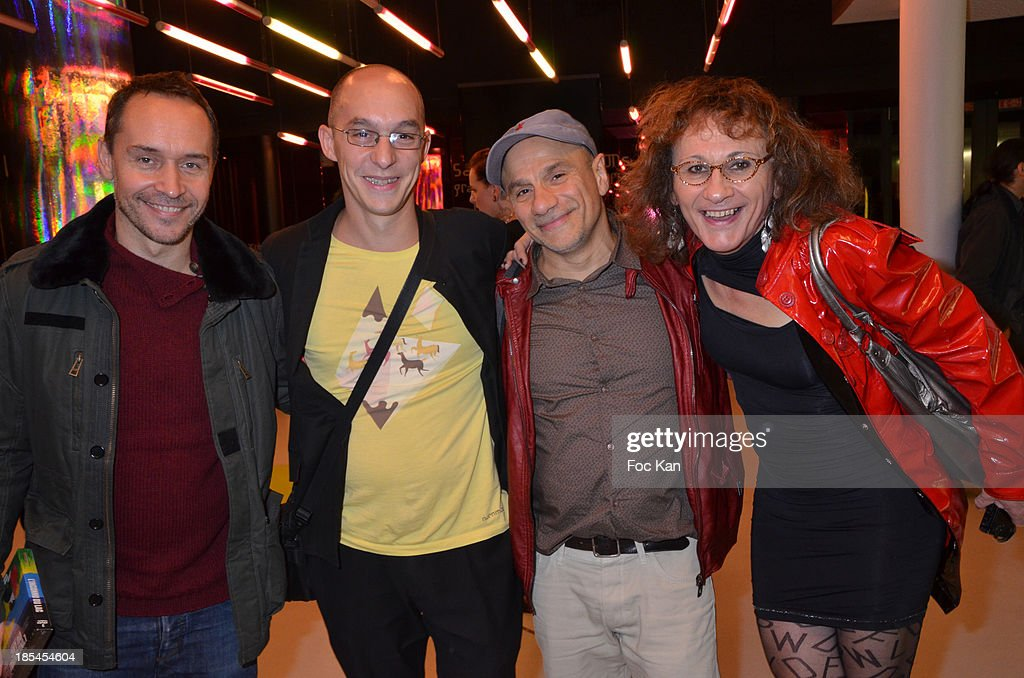 Actor Manuel Blanc, Guillaume Giovanetti, Daniel Chabannes and Caphi aka Philippe Frecon attend the 'Cheries Cheris' Gay Lesbian Transexual 19th Film Festival Closing Ceremony At The Forum DesHalles on October 20, 2013 in Paris, France.