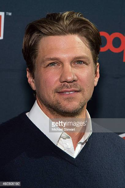 Actor Marc Blucas poses in the press room for the 'Underground' panel during ComicCon Day 4 at The Jacob K Javits Convention Center on October 11...