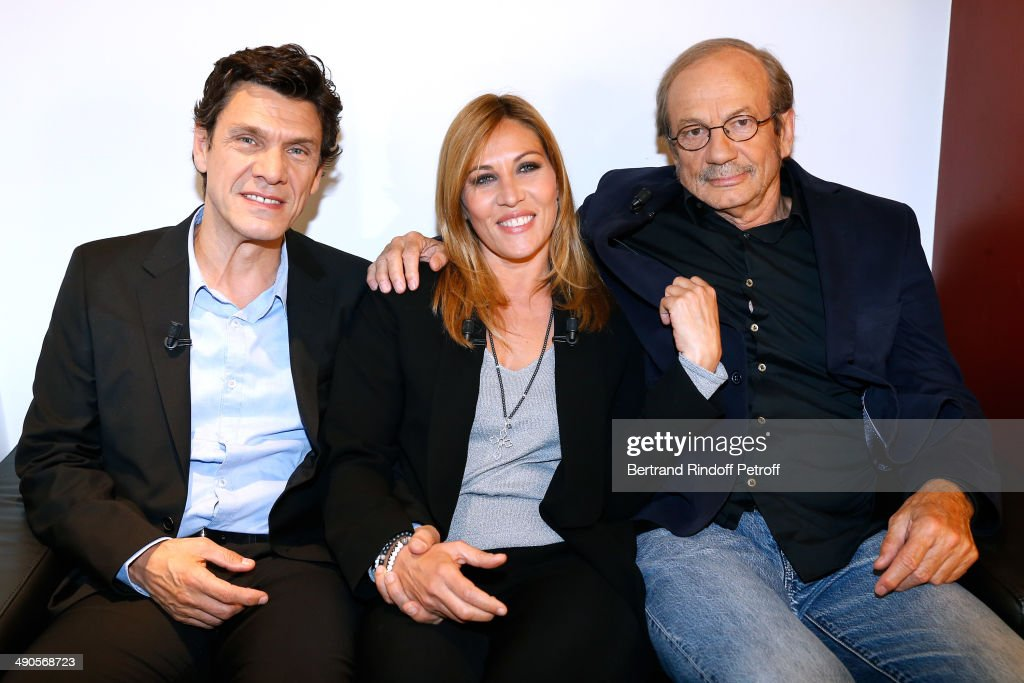 Actor Marc lavoine and main Guest of the show Mathilde Seigner and actor Patrick Chesnais present the movie 'La liste de mes envies' at the 'Vivement Dimanche' French TV show at Pavillon Gabriel on May 14, 2014 in Paris, France.