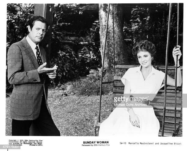 Actor Marcello Mastroianni and actress Jacqueline Bisset in a scene from the movie 'The Sunday Woman' circa 1975