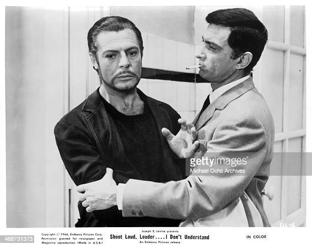 Actor Marcello Mastroianni on set of the movie 'Shoot Loud Louder I Don't Understand ' circa 1966