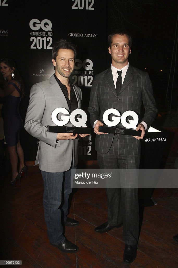 Actor Marco Zunino and Pilot Nicolas Fuchs pose during the awards ceremony GQ Men of the Year 2012 at La Huaca Pucllana on November 23, 2012 in Lima, Peru.