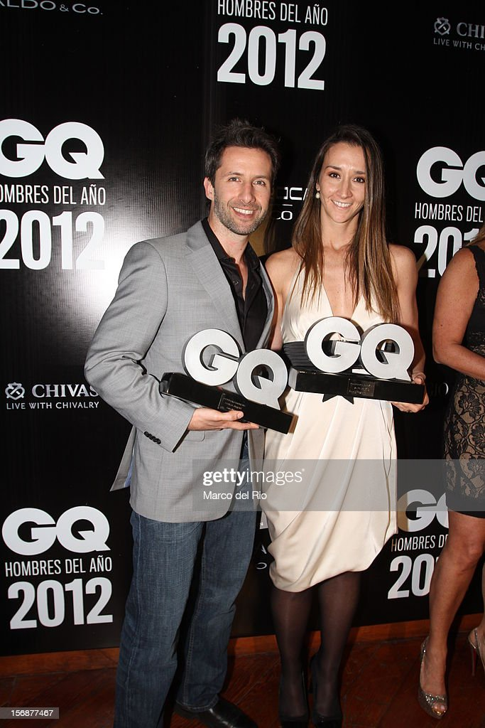 Actor Marco Zunino and Vania Masias pose during the awards ceremony GQ Men of the Year 2012 at La Huaca Pucllana on November 23, 2012 in Lima, Peru.