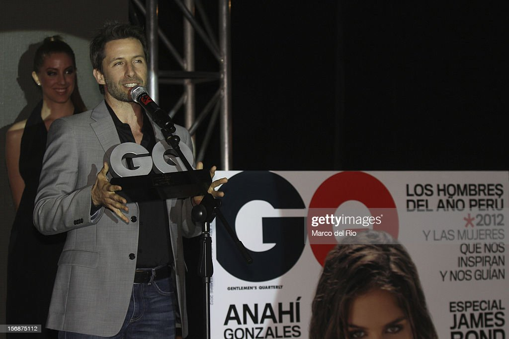 Actor Marco Zunino recieves an award during the awards ceremony GQ Men of the Year 2012 at La Huaca Pucllana on November 23, 2012 in Lima, Peru.