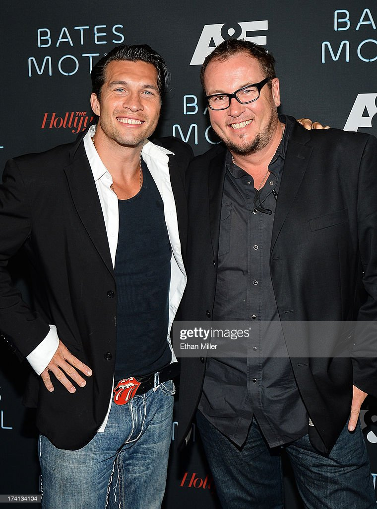 Actor Marcus Shirock (L) and director Nick Lyon attend A&E's 'Bates Motel' party during Comic-Con International 2013 at Gang Kitchen on July 20, 2013 in San Diego, California.