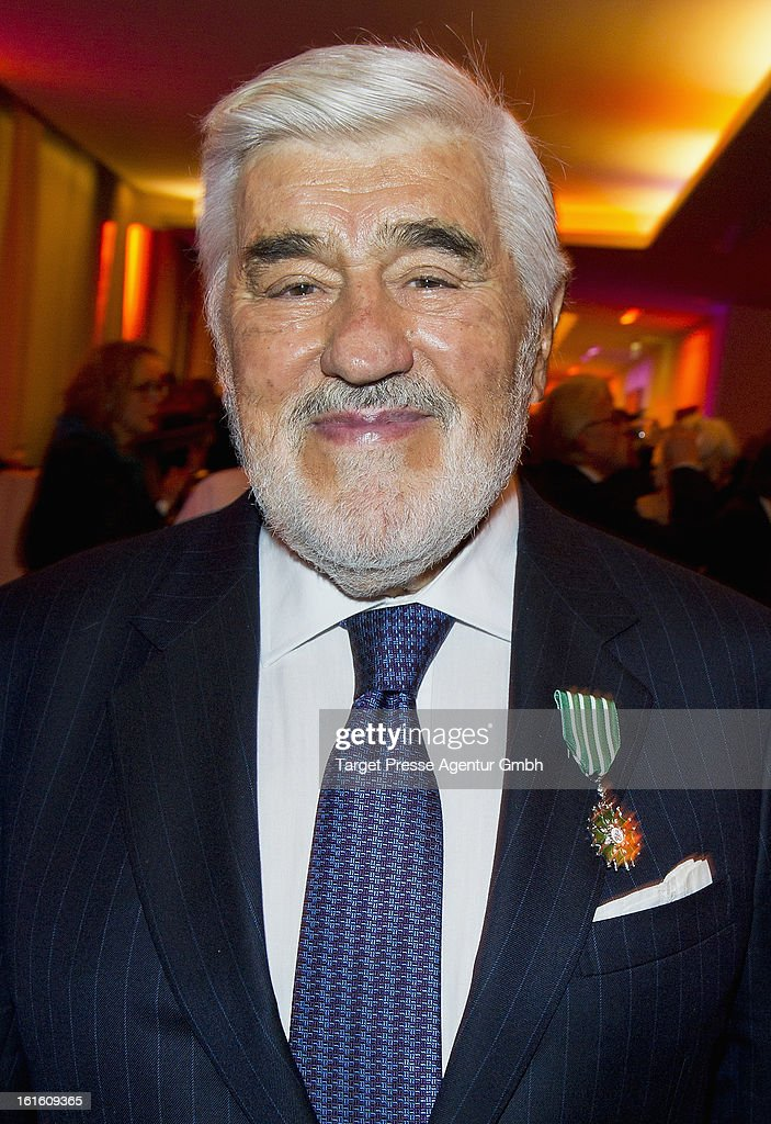 Actor <a gi-track='captionPersonalityLinkClicked' href=/galleries/search?phrase=Mario+Adorf&family=editorial&specificpeople=213761 ng-click='$event.stopPropagation()'>Mario Adorf</a> attends the 'Soiree Francaise Du Cinema' at the French embassy on February 12, 2013 in Berlin, Germany.