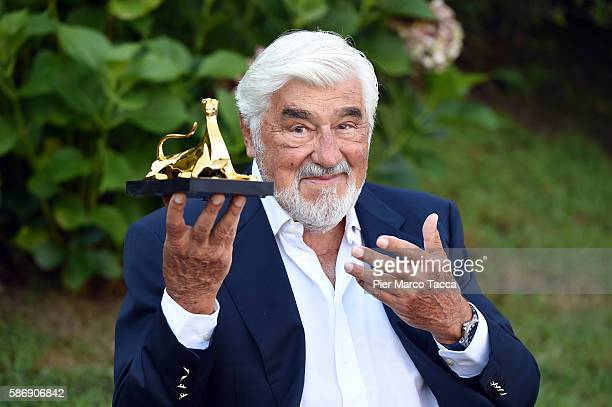Actor Mario Adorf poses with the Pardo alla Carriera during the 69th Locarno Film Festival on August 7 2016 in Locarno Switzerland