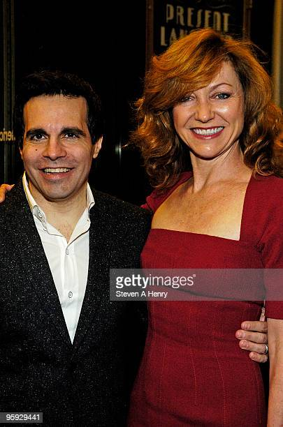 Actor Mario Cantone and director Julie Taymor attends the opening night of 'Present Laughter' on Broadway at the American Airlines Theatre on January...