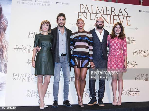 Actor Mario Casas Actress Berta Vazquez Director Fernando Gonzalez Molina and Actress Adriana Ugarte attend 'Palmeras en la Nieve' Madrid Photocall...