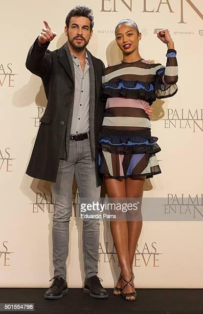 Actor Mario Casas and actress Berta Vazquez attend 'Palmeras en la nieve' photocall at Palace hotel on December 16 2015 in Madrid Spain