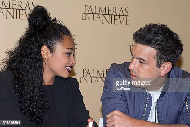 Actor Mario Casas and actress Berta Vazquez attend sign copies of the film quotPalm Trees in the snowquot on DVD in Madrid Fnac mall Spain on April...