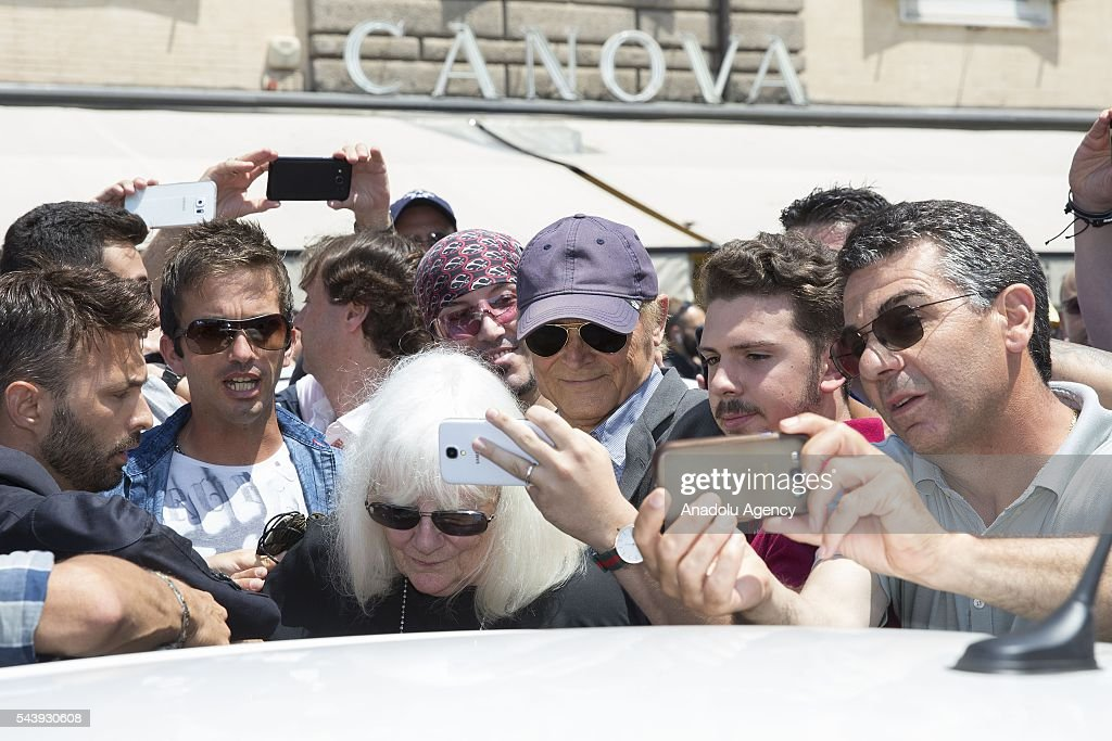 Actor Mario Girotti alias Terence Hill attends the funeral ceremony of Italian actor Carlo Pedersoli also known as Bud Spencer outside the Santa Maria in Montesanto at Piazza del Popolo in Rome, Italy, 30 June 2016.