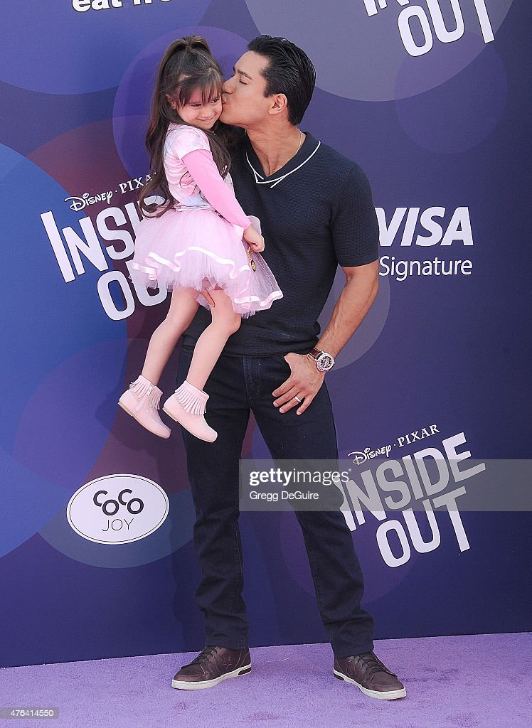 Actor Mario Lopez and daughter Gia Francesca Lopez arrive at the Los Angeles premiere of Disney/Pixar's 'Inside Out' at the El Capitan Theatre on...