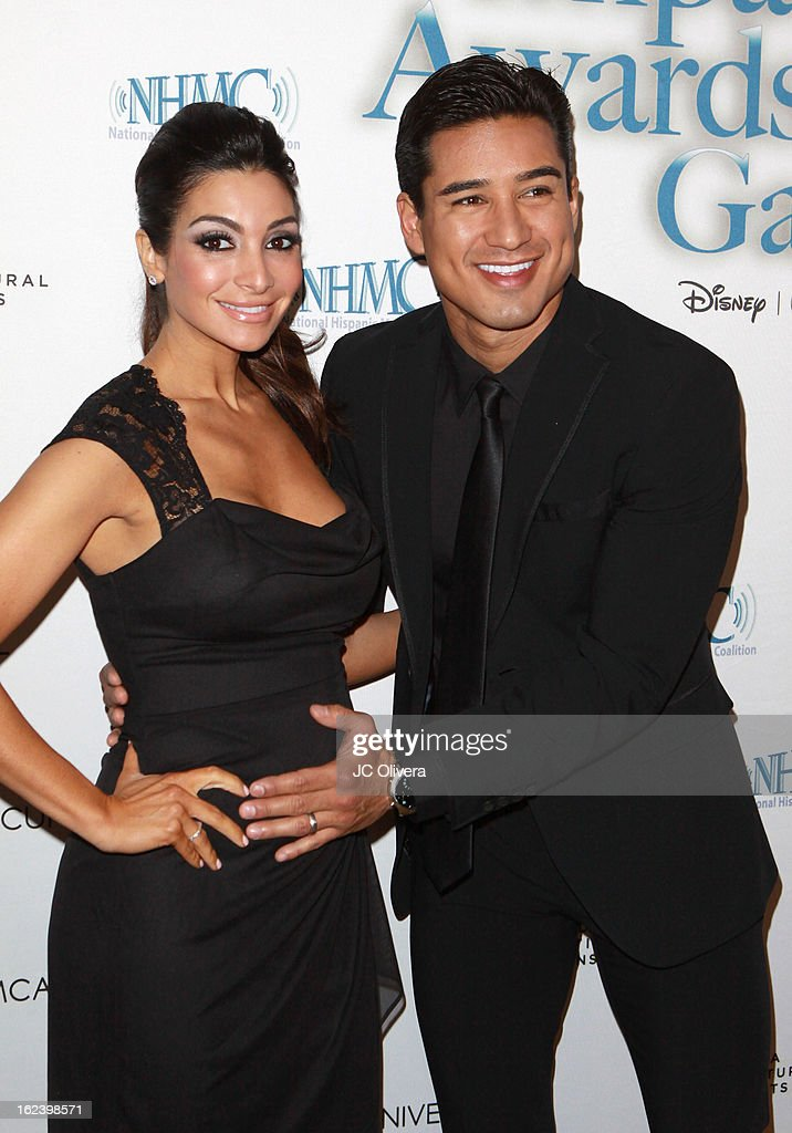 Actor Mario Lopez (R) and wife Courtney Mazza attend National Hispanic Media Coalition's 16th Annual Impact Awards Gala at the Beverly Wilshire Four Seasons Hotel on February 22, 2013 in Beverly Hills, California.