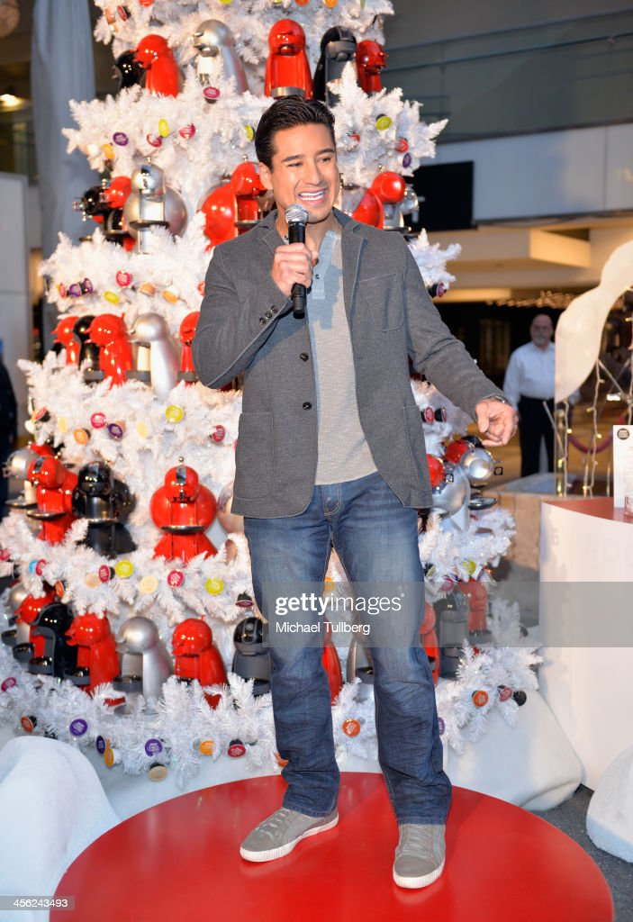 Actor Mario Lopez hosts a tree lighting ceremony at a Nescafe Holiday Pop-Up store at Westfield Century City on December 13, 2013 in Los Angeles, California.