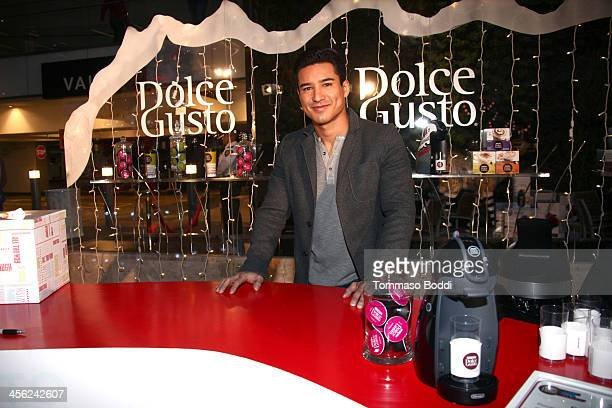 Actor Mario Lopez joins Nescafe Dolce Gusto to host Holiday PopUp at the Westfield Century City on December 13 2013 in Los Angeles California