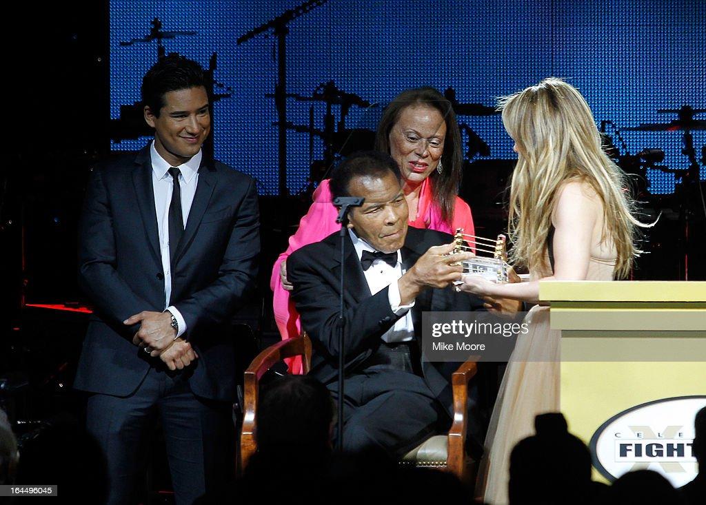 Actor Mario Lopez, Lonnie Ali, Muhammad Ali and Singer Jennifer Lopez attends Muhammad Ali's Celebrity Fight Night XIX at JW Marriott Desert Ridge Resort & Spa on March 23, 2013 in Phoenix, Arizona.