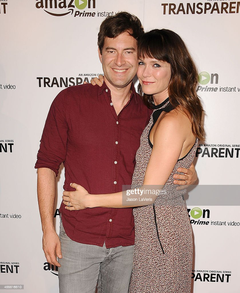 Actor Mark Duplass and actress Katie Aselton attend the premiere of 'Transparent' at Ace Hotel on September 15, 2014 in Los Angeles, California.
