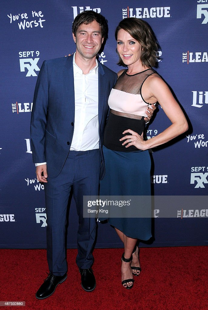 Actor Mark Duplass and actress Katie Aselton attend the premiere of FXX's 'The League' final season and 'You're The Worst' 2nd season at the Regency Bruin Theater on September 8, 2015 in Westwood, California.