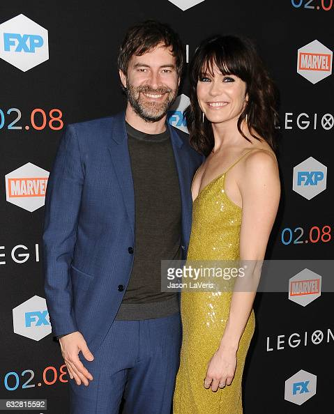 Actor Mark Duplass and actress Katie Aselton attend the premiere of 'Legion' at Pacific Design Center on January 26 2017 in West Hollywood California