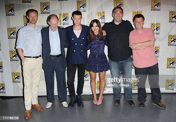 Actor Mark Gatiss actor David Bradley actor Matt Smith actress Jenna Coleman producer Marcus Wilson and writer Steven Moffat speak onstage at BBC...