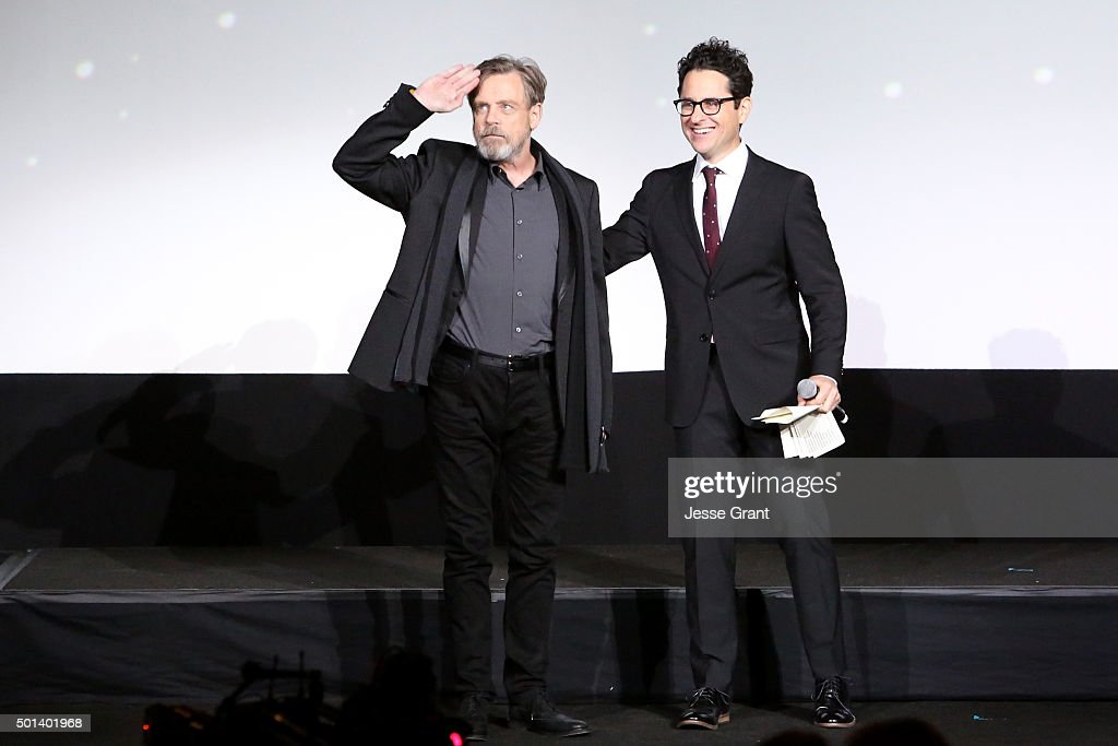 """Actor Mark Hamill (L) and director J.J. Abrams attend the World Premiere of """"Star Wars: The Force Awakens"""" at the Dolby, El Capitan, and TCL Theatres on December 14, 2015 in Hollywood, California."""
