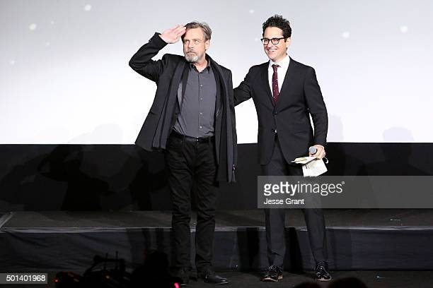 "Actor Mark Hamill and director JJ Abrams attend the World Premiere of ""Star Wars The Force Awakens"" at the Dolby El Capitan and TCL Theatres on..."