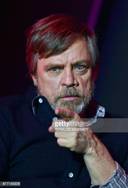 US actor Mark Hamill attends a press conference to promote the film 'Star Wars the last Jedi' in Mexico City on November 21 2017 The film world's...