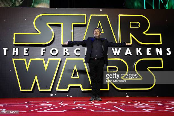 Actor Mark Hamill attends the European Premiere of 'Star Wars The Force Awakens' at Leicester Square on December 16 2015 in London England