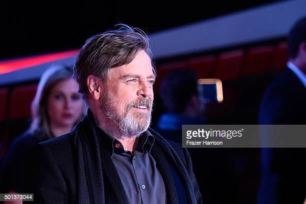 Actor Mark Hamill attends the Premiere of Walt Disney Pictures and Lucasfilm's 'Star Wars The Force Awakens' on December 14 2015 in Hollywood...