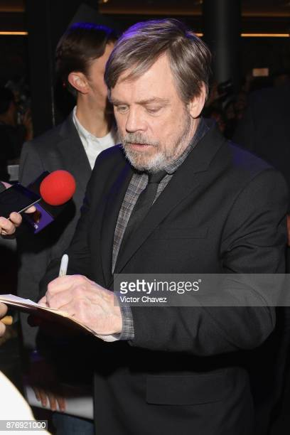Actor Mark Hamill attends the 'Star Wars The Last Jedi' fan event black carpet at Oasis Coyoacan on November 20 2017 in Mexico City Mexico