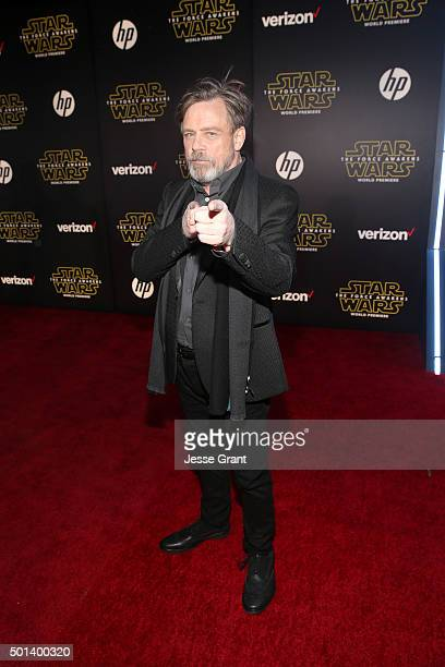 "Actor Mark Hamill attends the World Premiere of ""Star Wars The Force Awakens"" at the Dolby El Capitan and TCL Theatres on December 14 2015 in..."