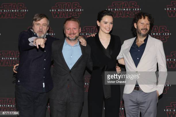 Actor Mark Hamill film director Rian Johnson actress Daisy Ridley and film producer Ram Bergman attend a press conference to promote the new film...