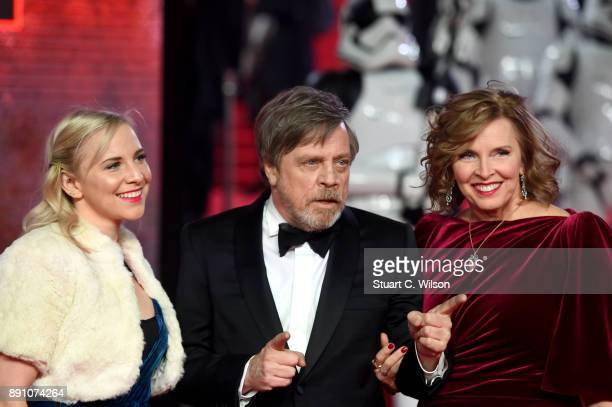 Actor Mark Hamill his wife Marilou York and daughter Chelsea Hamill attend the European Premiere of 'Star Wars The Last Jedi' at Royal Albert Hall on...