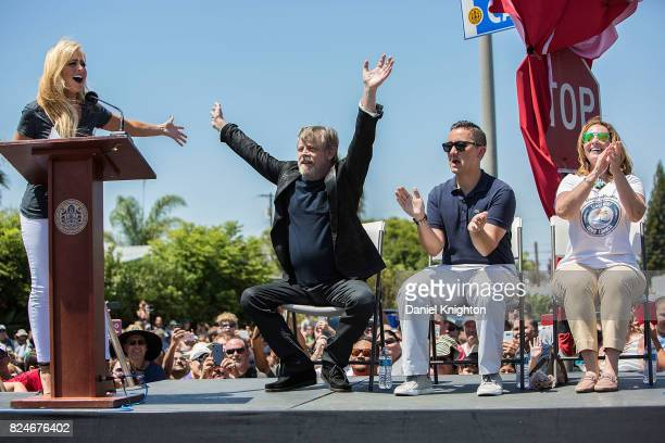 Actor Mark Hamill of Star Wars appears at a ceremony dedicating a street sign in his honor on July 30 2017 in San Diego California