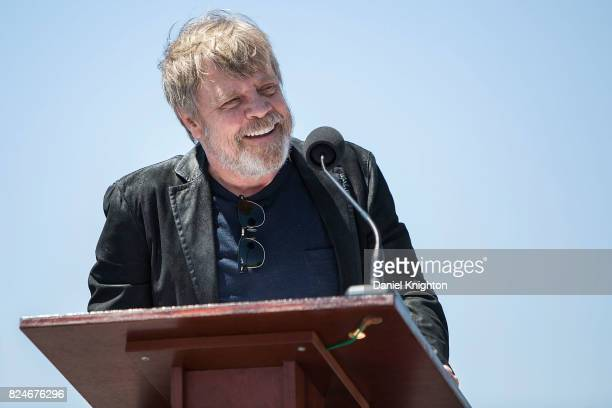 Actor Mark Hamill of Star Wars speaks on stage at a ceremony dedicating a street sign in his honor on July 30 2017 in San Diego California
