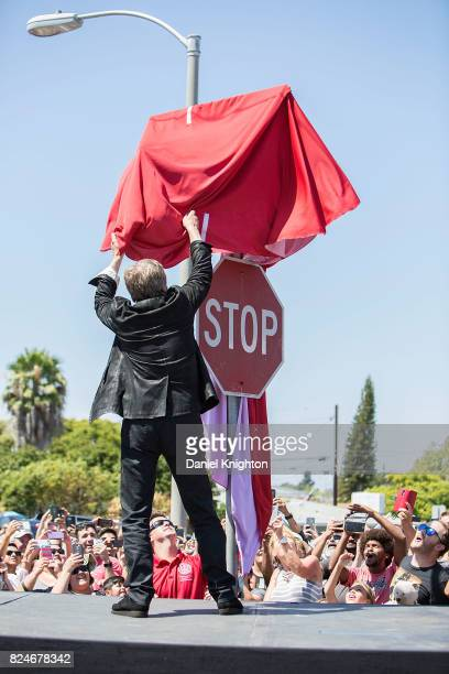 Actor Mark Hamill of Star Wars unveils a street sign named in his honor on July 30 2017 in San Diego California