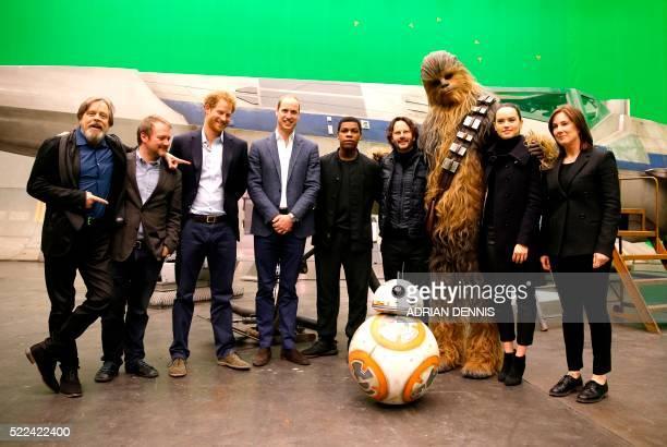 US actor Mark Hamill US director Rian Johnson Britain's Prince Harry Britain's Prince William Duke of Cambridge British actor John Boyega Chewbacca...