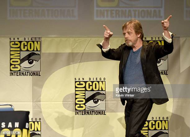 Actor Mark Hamill walks onstage at the Lucasfilm panel during ComicCon International 2015 at the San Diego Convention Center on July 10 2015 in San...