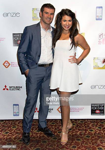 Actor Mark Justice and actress Marisa Johnson arrive at Premiere Party For 'Liv Out Loud' at Akbar on September 14 2015 in Los Angeles California