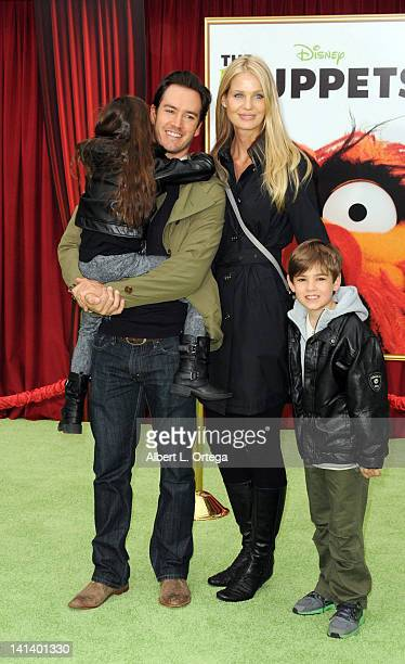 Actor Mark PaulGosselaar and Catriona McGinn with daughter Ava and son Michael arrive for 'The Muppet' Los Angeles Premiere held at the El Capitan...