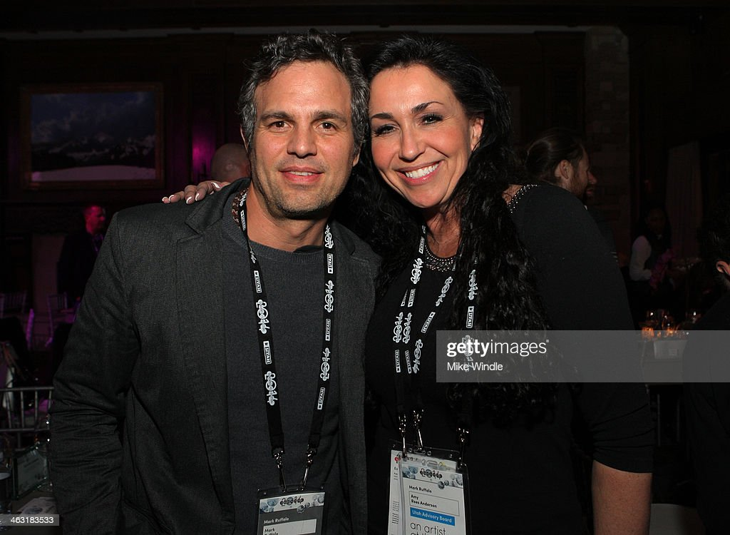 Actor Mark Ruffalo and Amy Rees Anderson attend An Artist at the Table: Dinner Program during the 2014 Sundance Film Festival at Stein Eriksen Lodge on January 16, 2014 in Park City, Utah.
