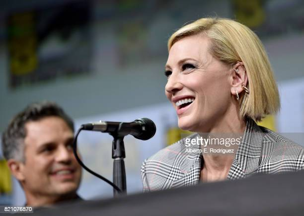 Actor Mark Ruffalo and Cate Blanchett from Marvel Studios' 'Thor Ragnarok' at the San Diego ComicCon International 2017 Marvel Studios Panel in Hall...