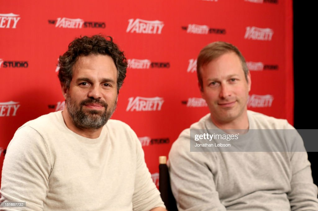 Actor <a gi-track='captionPersonalityLinkClicked' href=/galleries/search?phrase=Mark+Ruffalo&family=editorial&specificpeople=209317 ng-click='$event.stopPropagation()'>Mark Ruffalo</a> (L) and Filmmaker Stuart Blumberg speak at the Variety Studio presented by Moroccanoil at Holt Renfrew on Day 2 at Holt Renfrew, Toronto during the 2012 Toronto International Film Festival on September 9, 2012 in Toronto, Canada.
